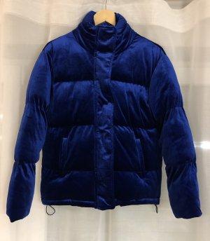 Mango Jacke aus Samt blaue Jacke Velvet Samt Jacke blauer Samt Winterjacke Herbstjacke