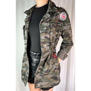 Mango Military Jacket khaki cotton