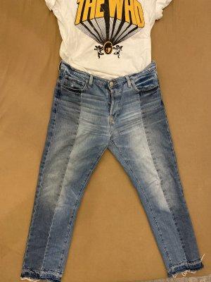 Mango Hoge taille broek donkerblauw-korenblauw