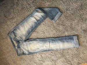 Mango pantalón de cintura baja azul celeste