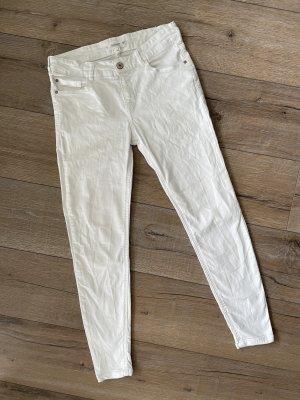 Mango Jeans Isa Skinny Fit Mid Waist cropped Röhrenjeans weiß Gr. 36