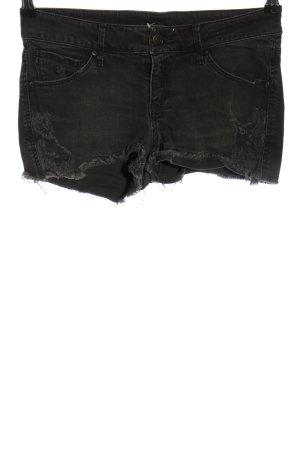 Mango Jeans Pantalón corto de tela vaquera negro look casual