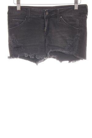 Mango Jeans Pantaloncino di jeans nero Tessuto misto