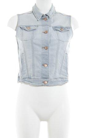 Mango Jeans Jeansweste himmelblau Logo-Applikation aus Leder