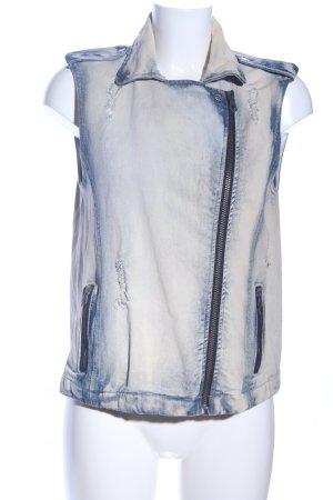 Mango Jeans Jeansweste weiß-blau Street-Fashion-Look