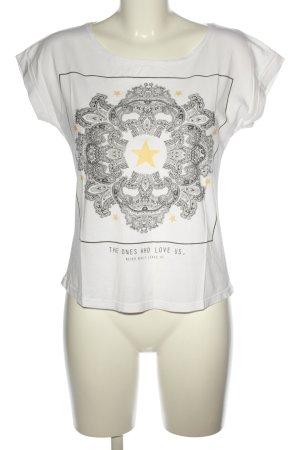 Mango Jeans Print-Shirt weiß-hellgrau abstraktes Muster Casual-Look