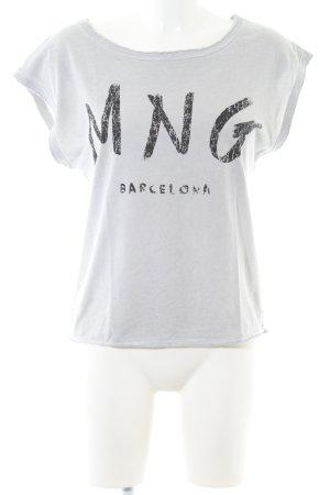 Mango Jeans Print-Shirt hellgrau-schwarz Schriftzug gedruckt Casual-Look