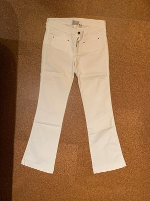 Mango Jeans Broek met wijd uitlopende pijpen wit