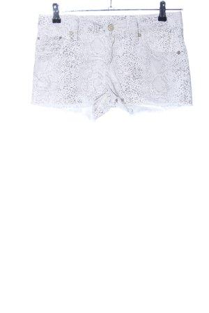 Mango Jeans Shorts weiß-hellgrau Allover-Druck Casual-Look