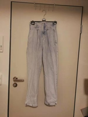 Mango High Waist Jeans azure cotton