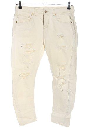 Mango Jeans Jeansy z prostymi nogawkami kremowy W stylu casual