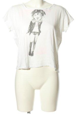 Mango Jeans T-Shirt weiß-hellgrau Motivdruck Casual-Look