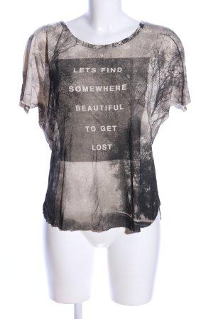 Mango Jeans T-Shirt braun Motivdruck Casual-Look