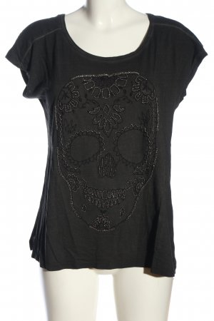 Mango Jeans T-Shirt schwarz Motivdruck Casual-Look