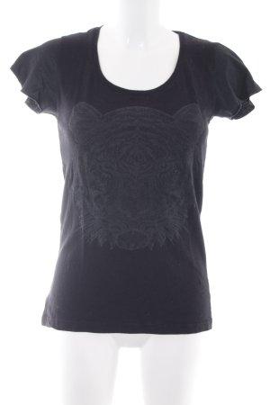 Mango Jeans T-Shirt schwarz Motivdruck Biker-Look