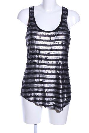 Mango Jeans Tanktop zwart-zilver gestreept patroon glitter-achtig