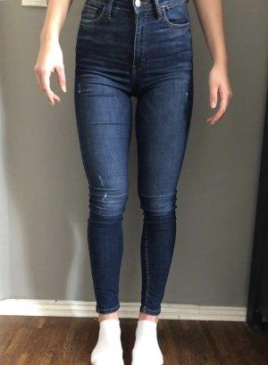 Mango Hoge taille jeans blauw-donkerblauw