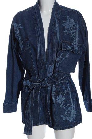 Mango Jeansjacke blau Blumenmuster Casual-Look