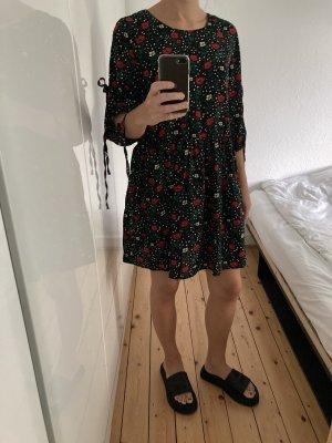 Mango Jumpsuit Overall Kleid Shorts Mini Blümchen M/ L schwarz