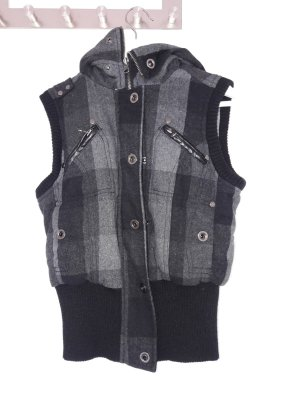 Mango Hooded Vest black-dark grey
