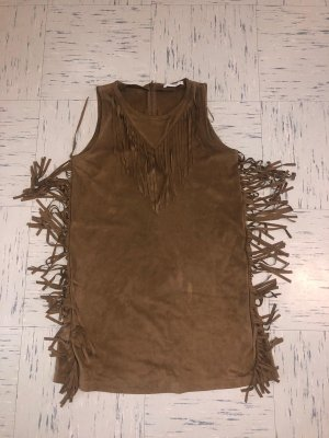 Mango Fringed Dress brown-beige