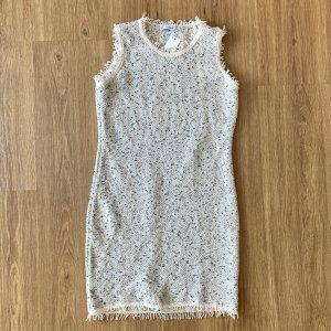 Mango Sukienka midi w kolorze białej wełny-srebrny