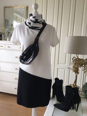 Mango Kleid Colorblocking schwarz weiß Gr. L neu