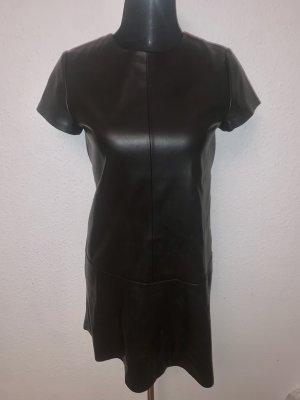 Mango Kleid Leder Imitat Kurzarm Volants