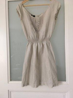 Mango Kleid Leinen beige