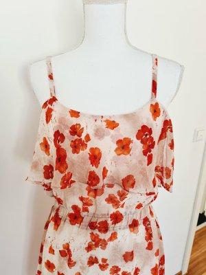 Mango Kleid Minikleid Kleid mit Trägern Sommer Blumen beige rot M 38