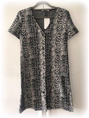 Mango Kleid mit Knopfleiste, snake Schlangen Print, schwarz weiß, xs