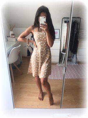 Mango Kleid mit Spaghettiträger beige mit weißen Punkten, XS