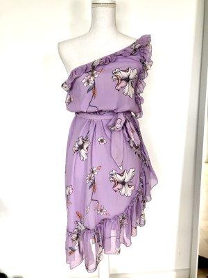 Mango Kleid S 36 Flieder Lila Floral Asymmetrisch Hochzeit