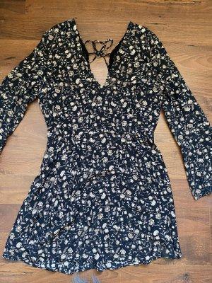 Mango Kleid Schwarz mit Blumen