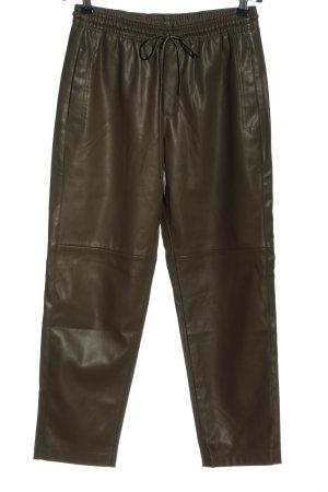 Mango Faux Leather Trousers khaki casual look