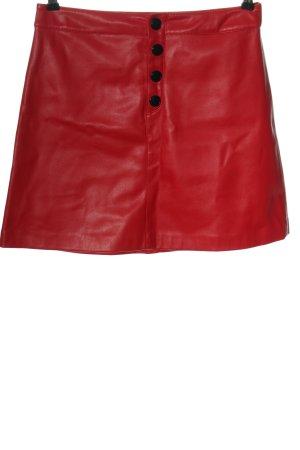 Mango Spódnica z imitacji skóry czerwony Ekstrawagancki styl