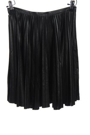Mango Falda de cuero de imitación negro tejido mezclado