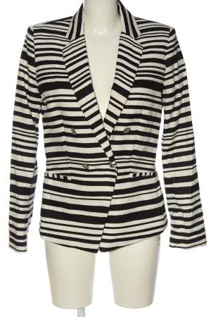 Mango Kurz-Blazer weiß-schwarz Streifenmuster Casual-Look