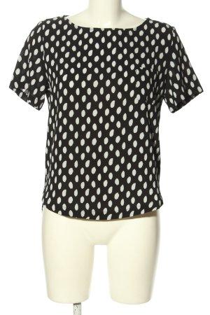 Mango Kurzarm-Bluse schwarz-weiß Allover-Druck Business-Look