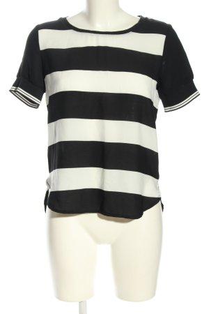 Mango Kurzarm-Bluse schwarz-weiß Allover-Druck Casual-Look