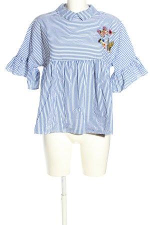 Mango Kurzarm-Bluse blau-weiß Streifenmuster Casual-Look