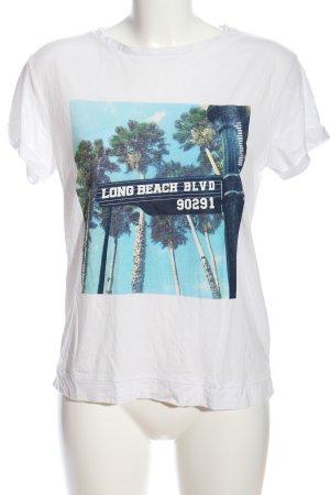 Mango T-Shirt weiß-blau Motivdruck Casual-Look
