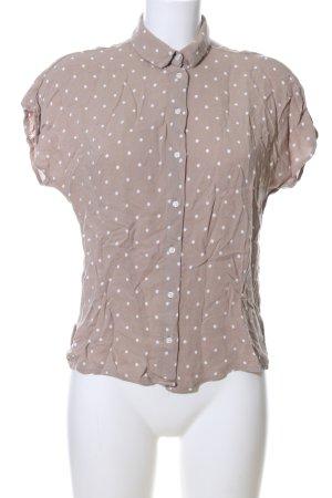 Mango Kurzarm-Bluse braun-weiß Punktemuster Casual-Look