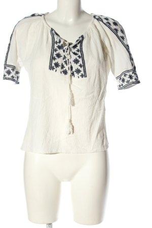 Mango Kurzarm-Bluse weiß-schwarz grafisches Muster Casual-Look