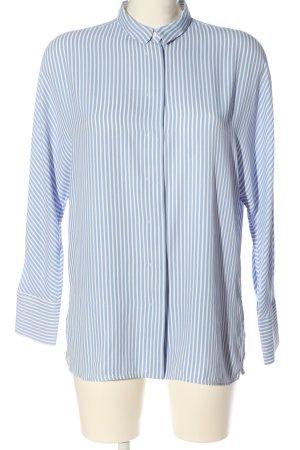 Mango Short Sleeve Shirt white-blue striped pattern casual look