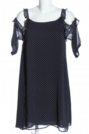 Mango Kurzarmkleid schwarz-weiß Punktemuster Casual-Look