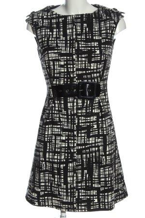Mango Kurzarmkleid weiß-schwarz abstraktes Muster Casual-Look