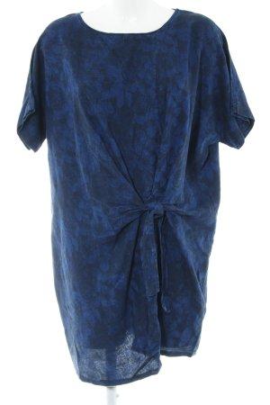 Mango Kurzarmkleid blau-schwarz Blumenmuster Casual-Look