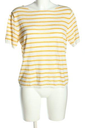 Mango Kurzarmpullover wollweiß-blassgelb Streifenmuster Casual-Look