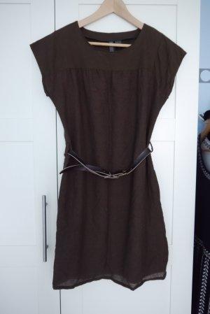 Mango kurzes Kleid Tunika mit Ledergürtel dunkelbraun braun Wolle S